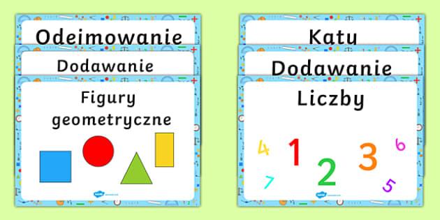 Plakaty Kącik matematyczny po polsku
