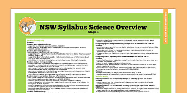 Australia NSW Syllabus Science Stage 1 Overview - australia
