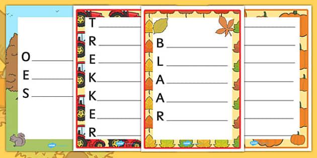 Afrikaans Harvest and Autumn Acrostic Poems - afrikaans, acrostic