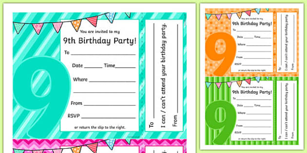 9th Birthday Party Invitations - 9th birthday party, 9th birthday, birthday party, invitations