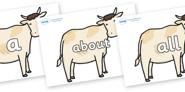 100 High Frequency Words on Cows - High frequency words, hfw, DfES Letters and Sounds, Letters and Sounds, display words