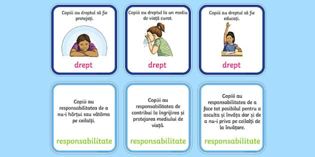 Drepturile și responsabilitățile copilului - Joc de punere în corespondență