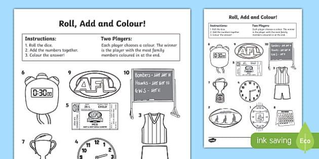 AFL Australian Football League Roll and Colour Activity Sheet, worksheet