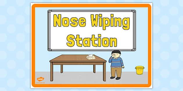 Nose Wiping Station Sign - nose wiping station, sign, display
