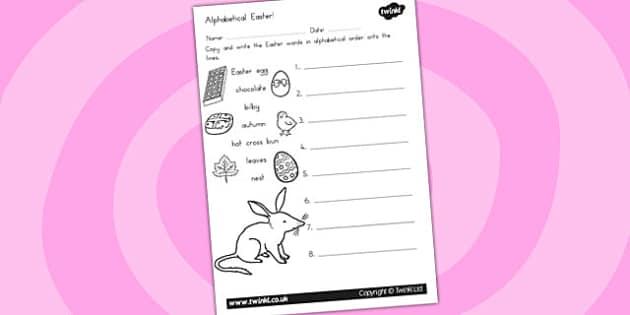 Easter Alphabet Ordering Worksheet - alphabet, a-z, order, RE