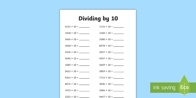 Dividing 4 Digit Numbers by 10 A5 Activity Sheet - dividing, 4 digit, numbers, by 10, activity, sheet, worksheet