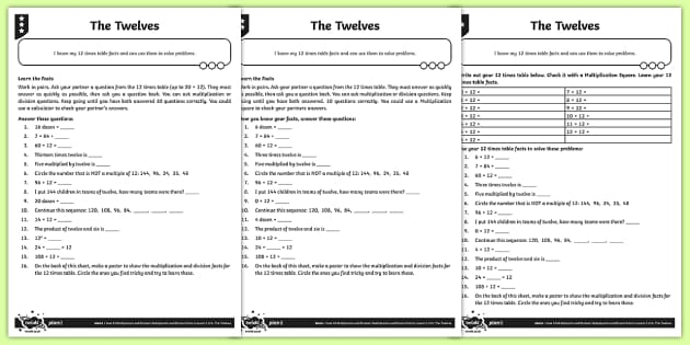 The 12 Times Table Activity Sheets - Y4 Multiplication and Division Planit Maths, multiply, groups of, lots of, product, times, sets of,