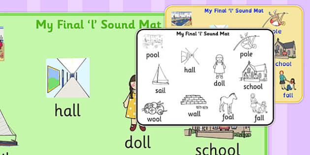 Final 'L' Sound Word Mat 2 - final l, sound, word mat, word, mat