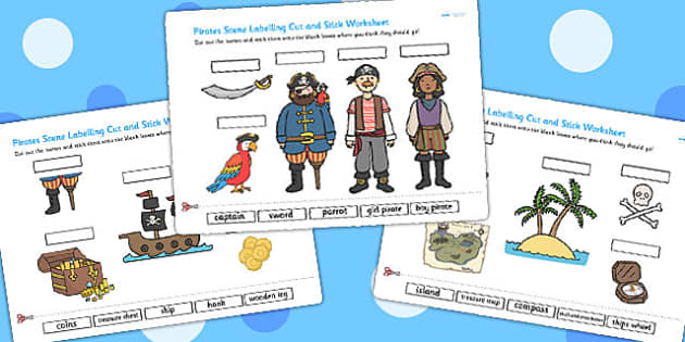 Pirates Scene Labelling Cut and Stick Worksheet - cut, stick