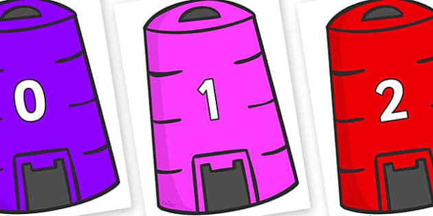Numbers 0-31 on Recycling Bins - 0-31, foundation stage numeracy, Number recognition, Number flashcards, counting, number frieze, Display numbers, number posters