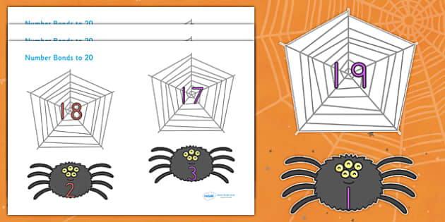 Halloween Number Bonds to 20 on Spiders and Webs - halloween, halloween number bonds, spider web number bonds, halloween numeracy, counting, 0-20 bonds