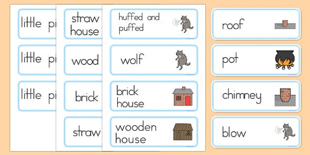 The Three Little Pigs Word Cards - Three, Little, Pigs, Word
