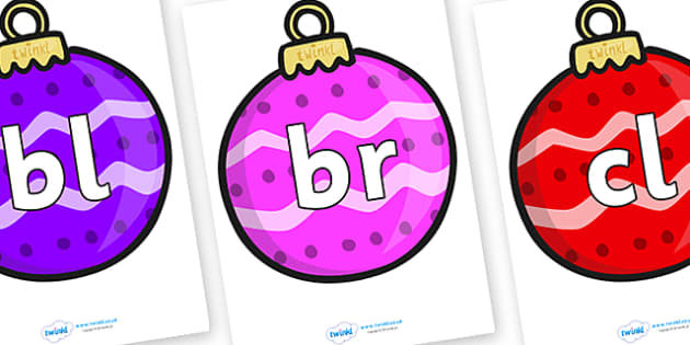 Initial Letter Blends on Baubles (Patterned) - Initial Letters, initial letter, letter blend, letter blends, consonant, consonants, digraph, trigraph, literacy, alphabet, letters, foundation stage literacy