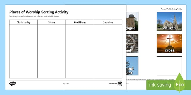 Places of Worship Sorting Activity - religion, religious, sort