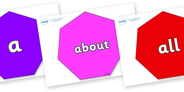 100 High Frequency Words on Heptagons - High frequency words, hfw, DfES Letters and Sounds, Letters and Sounds, display words