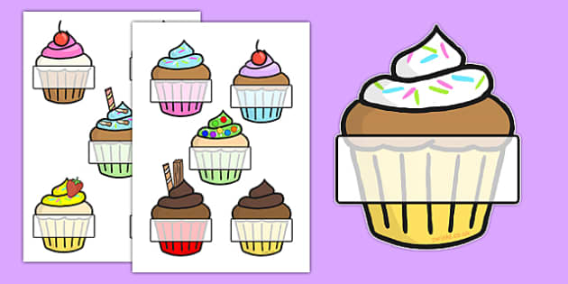 Editable Self Registration (Cupcakes)- Self registration, register, editable, labels, registration, child name label, printable labels, cupcakes, baking, cake