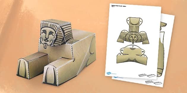 Egyptian Sphinx Paper Model - egypt, sphinx, paper model, paper