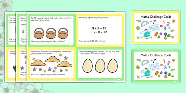 Spring Themed Maths Challenge Cards - spring, challenge, maths