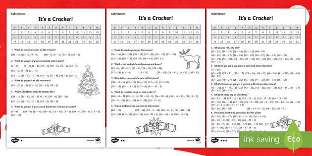 KS1 Subtraction Christmas Jokes Activity