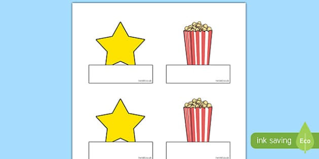 Movie Star Themed Self-Registration Labels