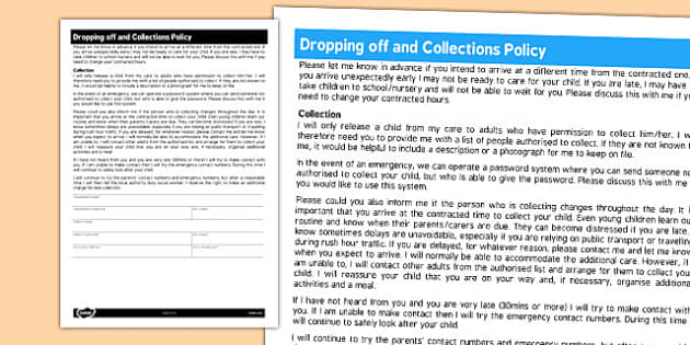 Dropping Off and Collections Policy for Childminder - childminder