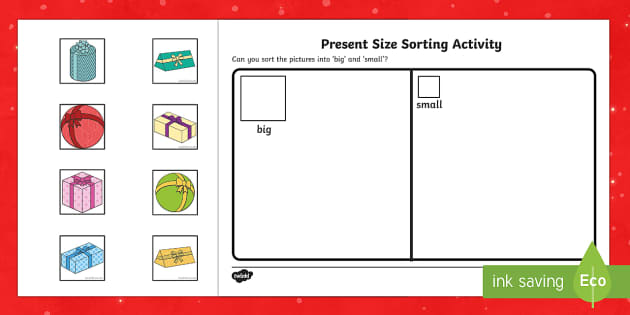 Present Size Sorting Activity Sheets