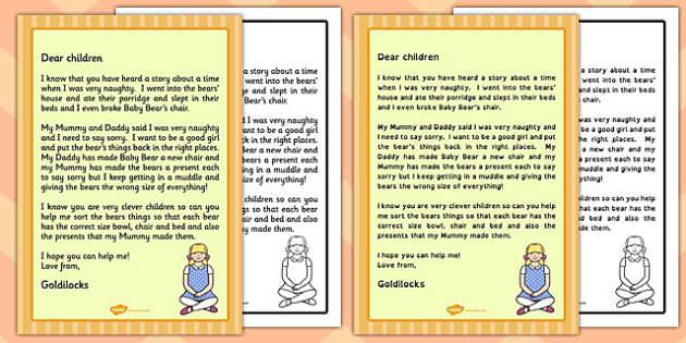 Goldilocks Apology Letter - goldilocks, apology letter, apology