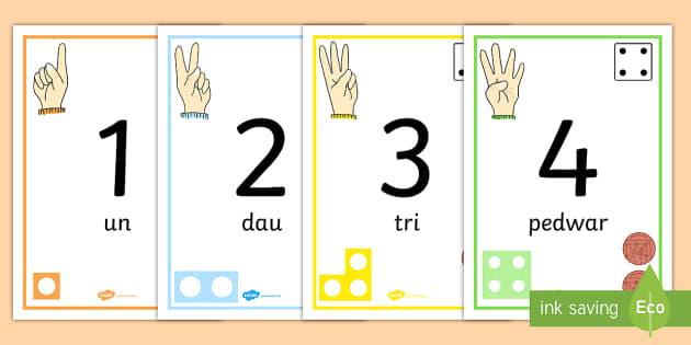 Llinell Rhif 1-30 yn dangos Siapiau Rhif - welsh, number line, posters