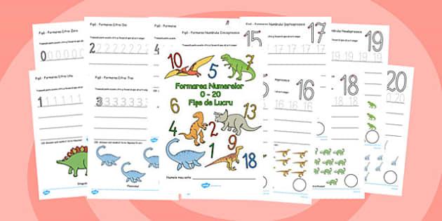Formarea cifrelor - fise, 0,1,2,3,4,5,6,7,8,9, dinozauri, Romanian