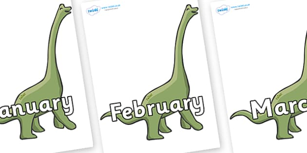 Months of the Year on Brachiosaurus - Months of the Year, Months poster, Months display, display, poster, frieze, Months, month, January, February, March, April, May, June, July, August, September