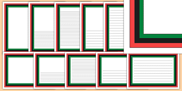 Black, Green, Red Stripes Themed Page Borders - black, green, red, stripes, page borders
