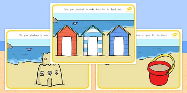 Seaside Playdough Mats - nz, new zealand, Seaside, playdough, mat, holidays, water, tide, waves, sand, beach, sea, sun, holiday, coast