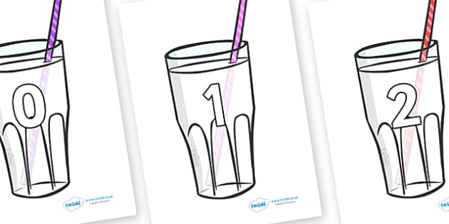 Numbers 0-50 on Milkshakes - 0-50, foundation stage numeracy, Number recognition, Number flashcards, counting, number frieze, Display numbers, number posters