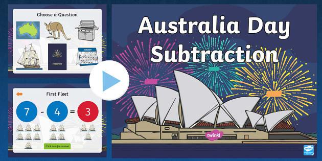 Australia Day Themed Subtraction to 10 PowerPoint - australia