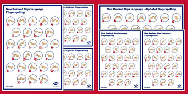 New Zealand Sign Language Alphabet Fingerspelling Poster Pack - nz, new zealand, sign language, new zealand sign language week, alphabet, fingerspelling, poster, pack