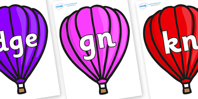 Silent Letters on Hot Air Balloons (Plain) - Silent Letters, silent letter, letter blend, consonant, consonants, digraph, trigraph, A-Z letters, literacy, alphabet, letters, alternative sounds
