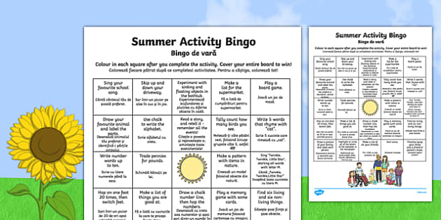 Summer Activity Bingo Romanian Translation - romanian, summer, activity, bingo, game, summer activity, summer holiday, holiday