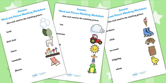 Seasons Word and Picture Matching Sheet - seasons, weather, match