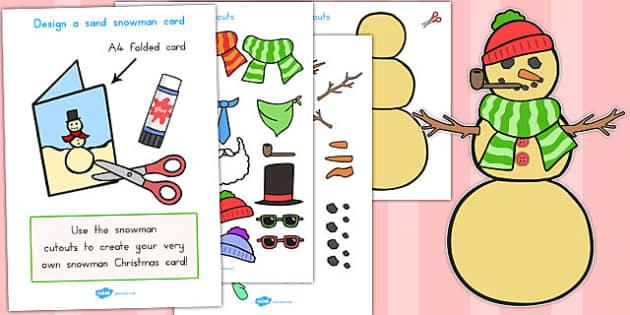 Design Your Own Sand Snowman Cards - australia, christmas, card