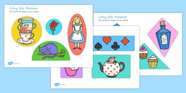 Alice in Wonderland Cutting Worksheet - australia, alice in wonderland