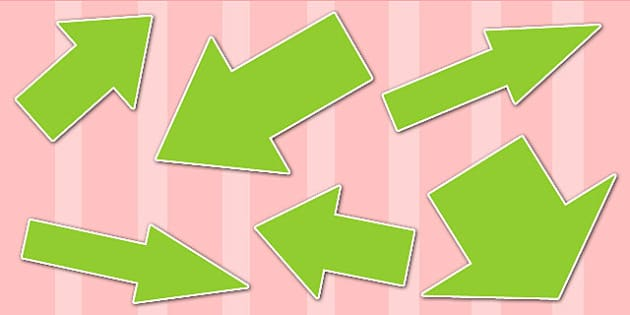 Green Directional Arrows Cut Outs - green directional arrows, cut outs, directional arrows, directional arrow cut outs, directional arrows worksheet