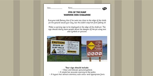 Stig of the Dump Warning Sign Challenge Activity - stig, activity
