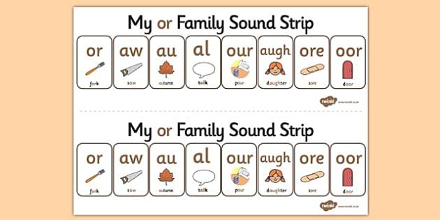 My OR Sound Family Strip - Sound family, OR, alternate spellings, alternate spellings for phonemes, family, sounds, phoneme, phonemes