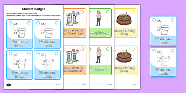 Classroom Management Badges for Students