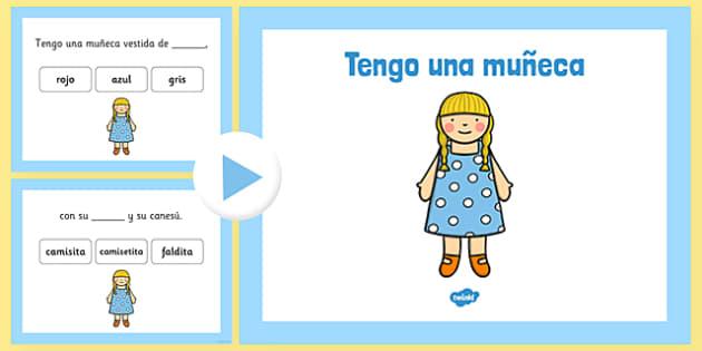 Tengo una muñeca Nursery Rhyme Complete The Lyrics PowerPoint Spanish - spanish, nursery rhymes, canción, canciones, listening, Spanish song, ficha