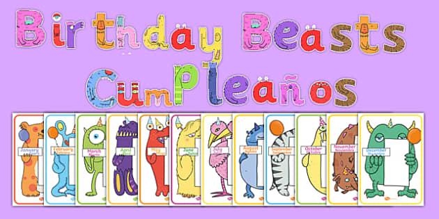 Birthday Beasts Display Pack Spanish Translation - spanish, sign, label, display, birthday, month, monster, beast, creatures