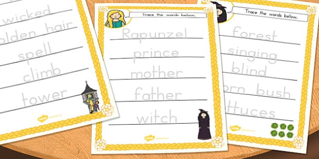 Rapunzel Trace the Words Worksheet - australia, rapunzel, trace, words