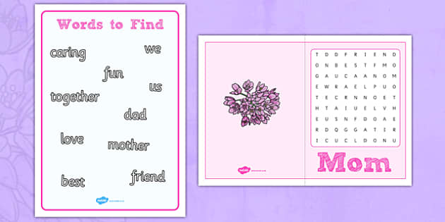 Mother's Day Word Search Card - usa, america, mothers day, wordsearch, card
