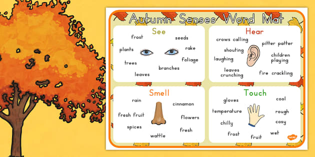 Autumn Senses Word Mat - seasons, weather, keywords, key words