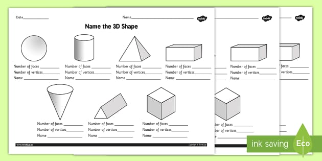 Name the 3D Shape Year 2 Worksheet worksheet 3d shape year – Faces Edges and Vertices Worksheet